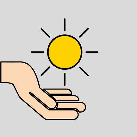 hands care sun warming global design vector illustration