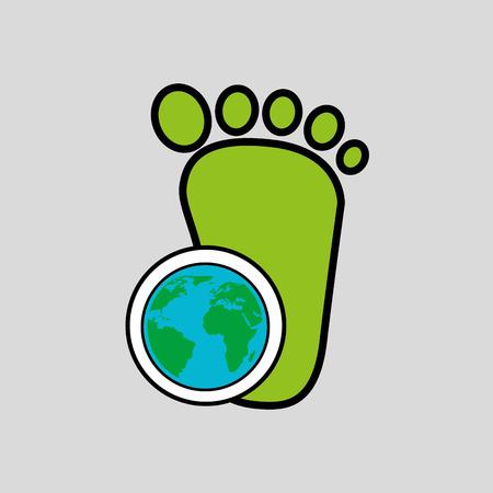 sea pollution: global world footprint ecology icon design vector illustration