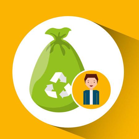 niños reciclando: icono lindo muchacho ecología reciclar bolsa de plástico ilustración vectorial