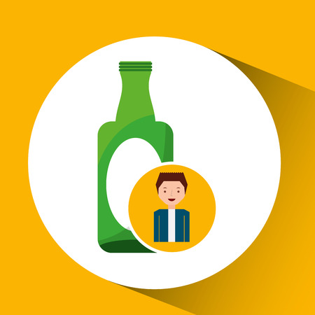 segregate: cute boy recycle ecology icon glass bottle vector illustration