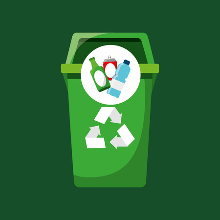 recycling bottles and can icons vector illustration