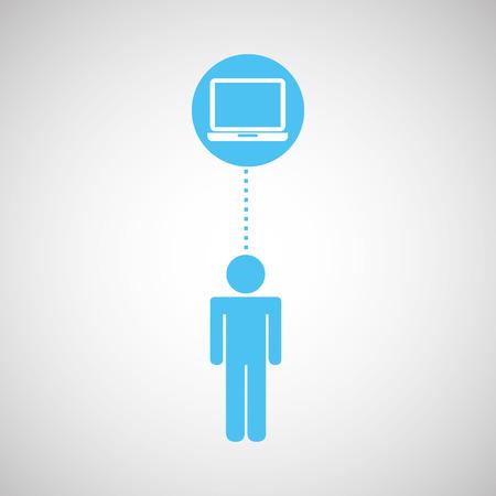 clouding: blue silhouette man laptop social network design vector Illustration
