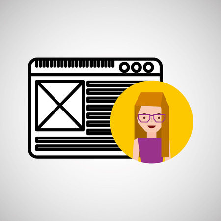 home page: character home page hand draw icon vector illustration Illustration