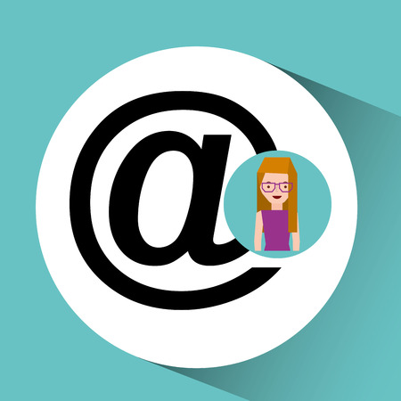 night out: girl with glasses mail sign design vector illustration