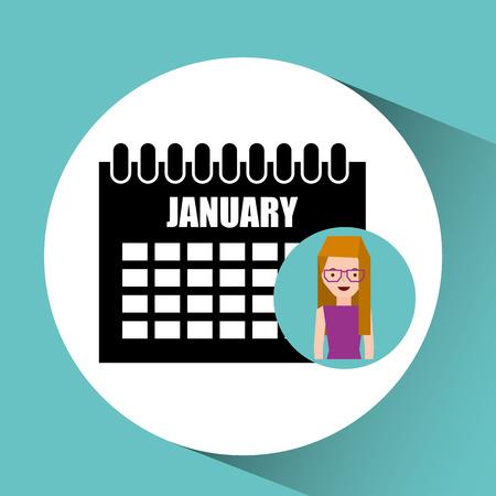 girl blonde calendar date icon vector illustration