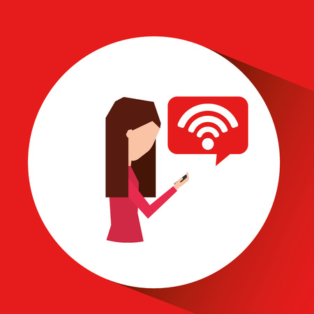 3g: girl using smartphone walking connection wifi vector illustration