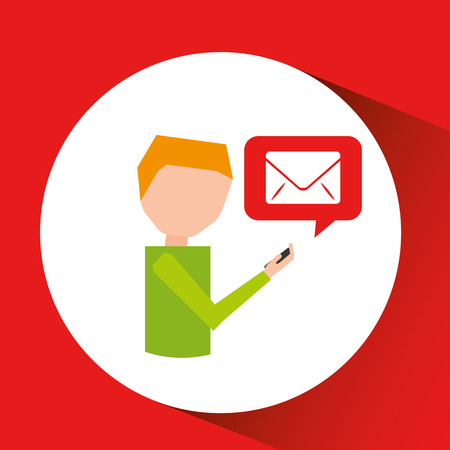man watching cellphone email walked vector illustration