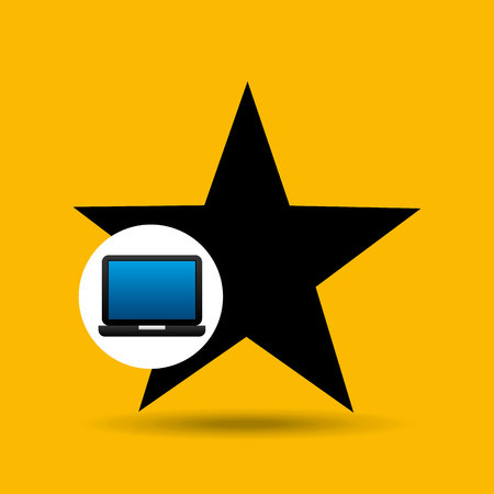 chat room: laptop icon favorite social media vector illustration