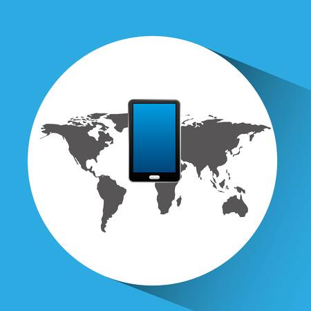 concept globe smartphone social media vector illustration