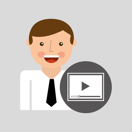 highend: happy man icon play social network design vector illustration Illustration