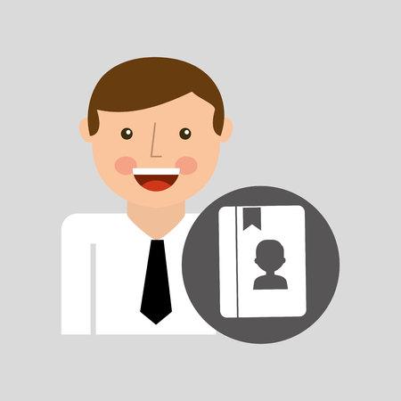 phoning: social media man concept contact vector illustration Illustration