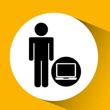 clouding: silhouette man laptop social network design vector illustration Illustration