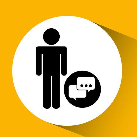 teammates: silhouette man bubble speech social network design vector illustration