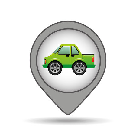 pickup: pickup truck pin map graphic vector illustration Illustration