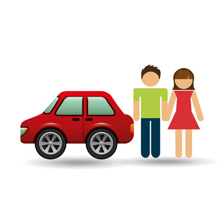 couple with hatchback car red vector illustration
