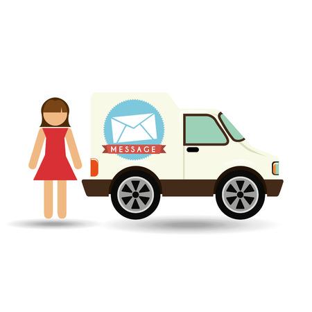 girl cartoon mail car icon design vector illustration
