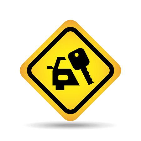 traffic sign concept icon car key vector illustration