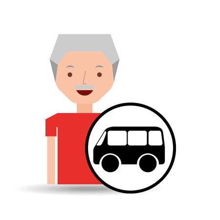 mini bike: cartoon man elder icon mini bus graphic vector illustration Illustration