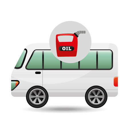 canister: bus white canister oil vector illustration