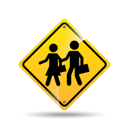danger ahead: road sign school zone icon vector illustration