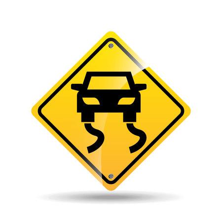 road sign slippery car icon vector illustration Illustration