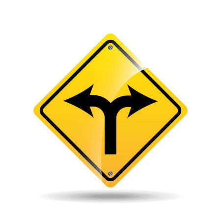 road sign fork arrow icon vector illustration
