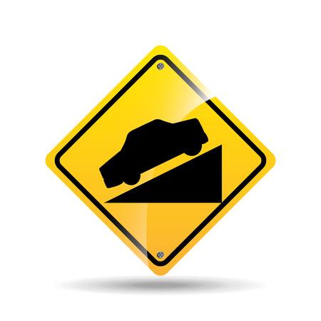 road sign steep decline icon vector illustration