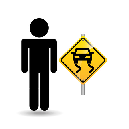 road sign slippery silhouette man vector illustration