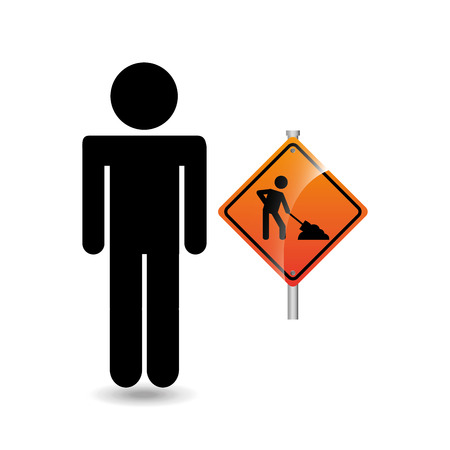 vector sign under construction: road sign under construction silhouette man vector illustration Illustration