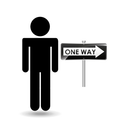stepping: road sign one way silhouette man vector illustration Illustration