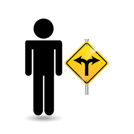 road sign fork silhouette man vector illustration Illustration