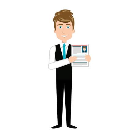 curriculum: businessman with curriculum vitae vector illustration design