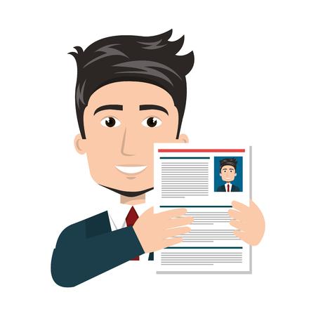 businessman with curriculum vitae vector illustration design