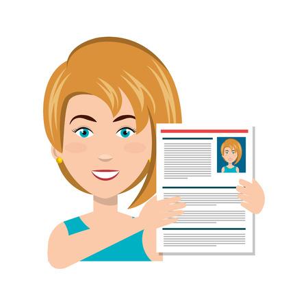businesswoman with curriculum vitae vector illustration design Illustration