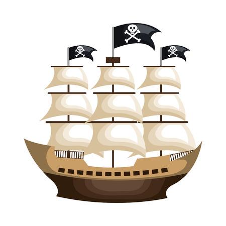 pirate ship isolated icon vector illustration design