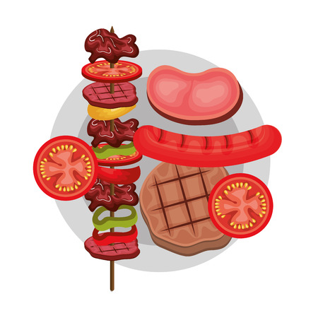 cooked meat: delicious barbecue grill isolated icon vector illustration design