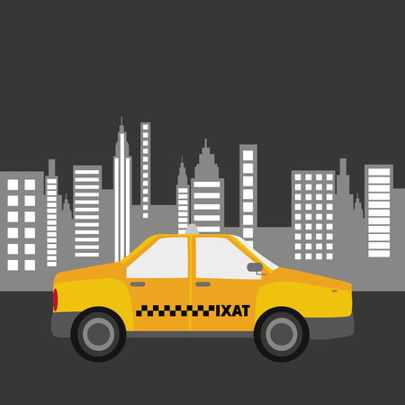 taxi car city bakcground graphic illustration