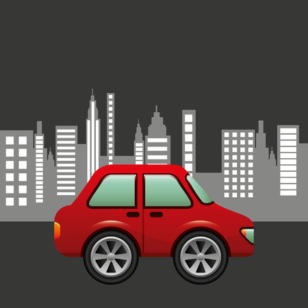hatchback car city background design illustration
