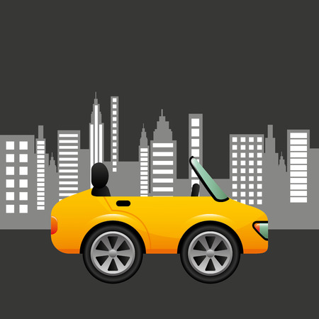 coupe: sport car coupe city background design illustration