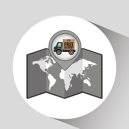 removal: truck free delivery icon map pointer design illustration