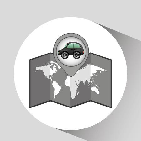 hatchback: hatchback car icon map pointer illustration Illustration
