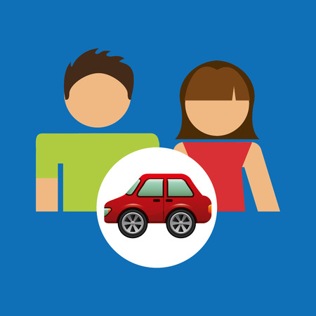 couple with hatchback car red illustration