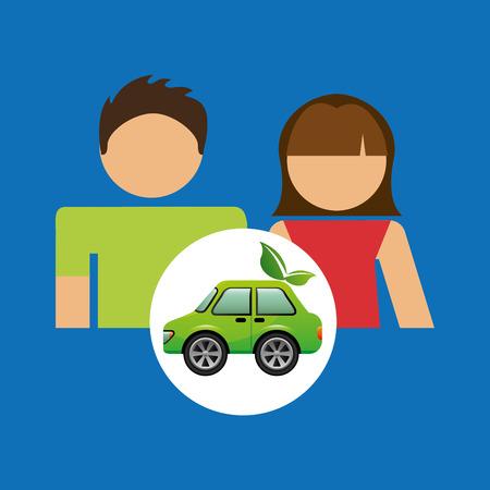 niños reciclando: pareja con el coche ecológico ilustración de diseño verde