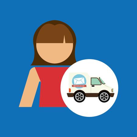 girl cartoon mail car icon design illustration Illustration