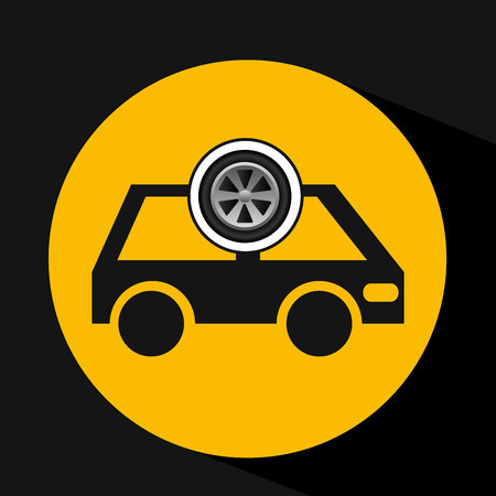 cartoon van car wheel icon design illustration