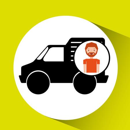 mini bike: man mini truck icon vector illustration