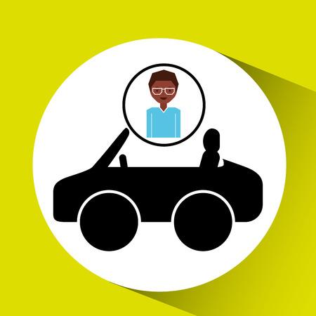 girl afro car sport icon vector illustration