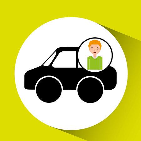 boy car   cartoon icon design vector illustration