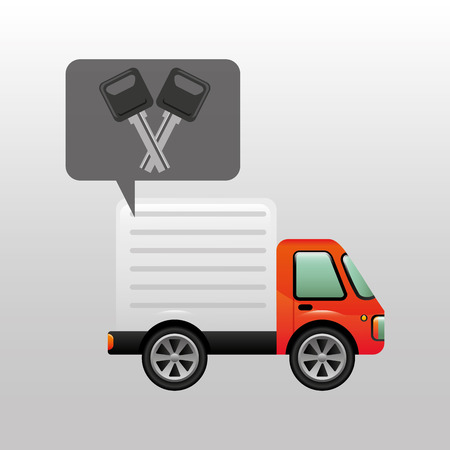 disk break: truck keys vehicle icon design vector illustration