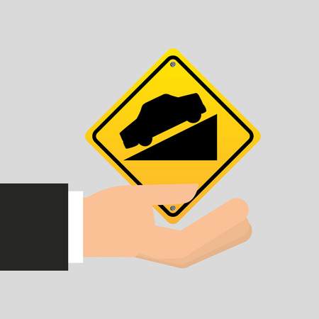70 75: road sign steep decline icon vector illustration